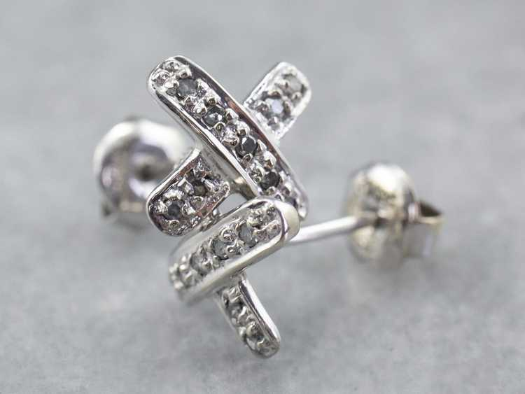 Diamond X Stud Earrings - image 1