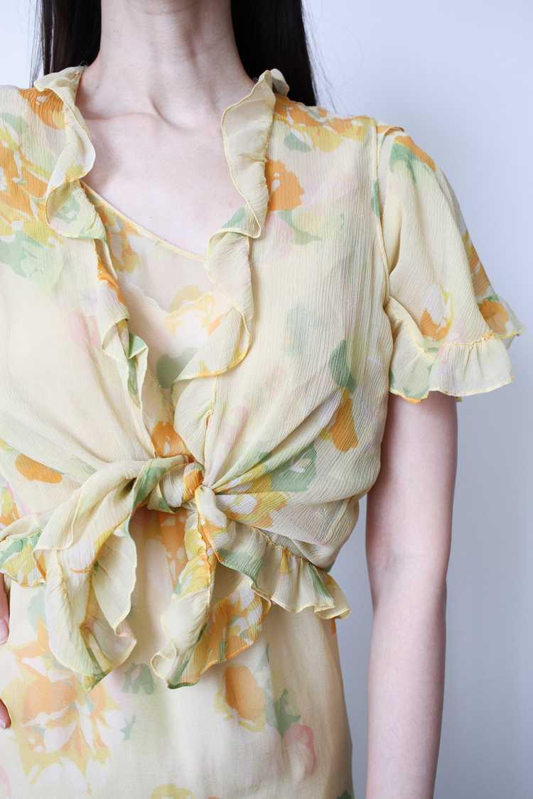 1930s Chiffon Silk Yellow Floral Dress w/ Bolero - image 10
