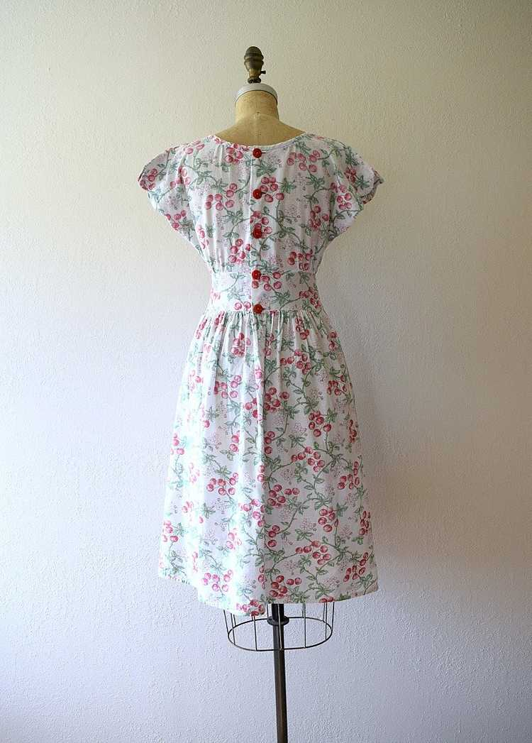 1940s cherry print dress . vintage 40s novelty pr… - image 3