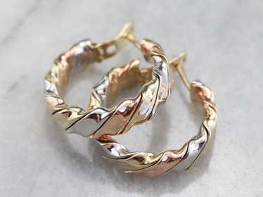 Tricolor Gold Twist Hoop Earrings