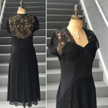 Late 1930s Black Pipe Flocked Lace Dress