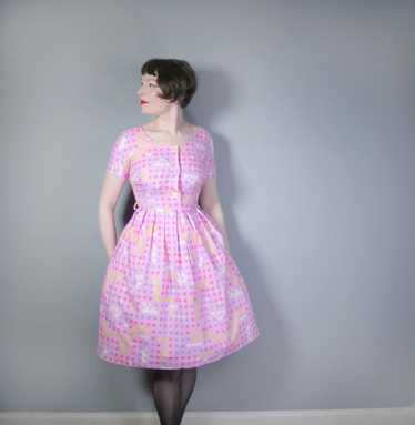"""50s 60s """"BANNER"""" PINK COTTON DAY DRESS WITH PASTE… - image 1"""