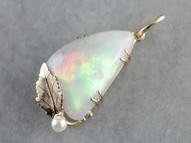 Dreamy Opal and Pearl Leaf Pendant