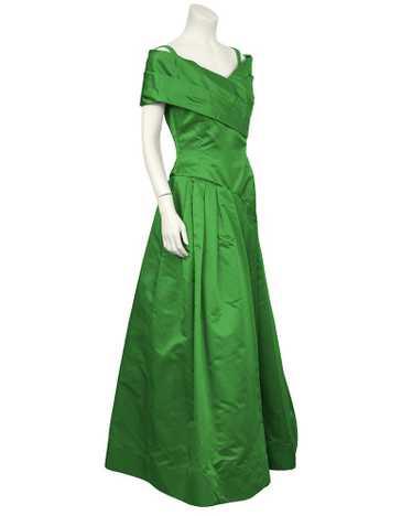 Scaasi Emerald Green Satin Gown