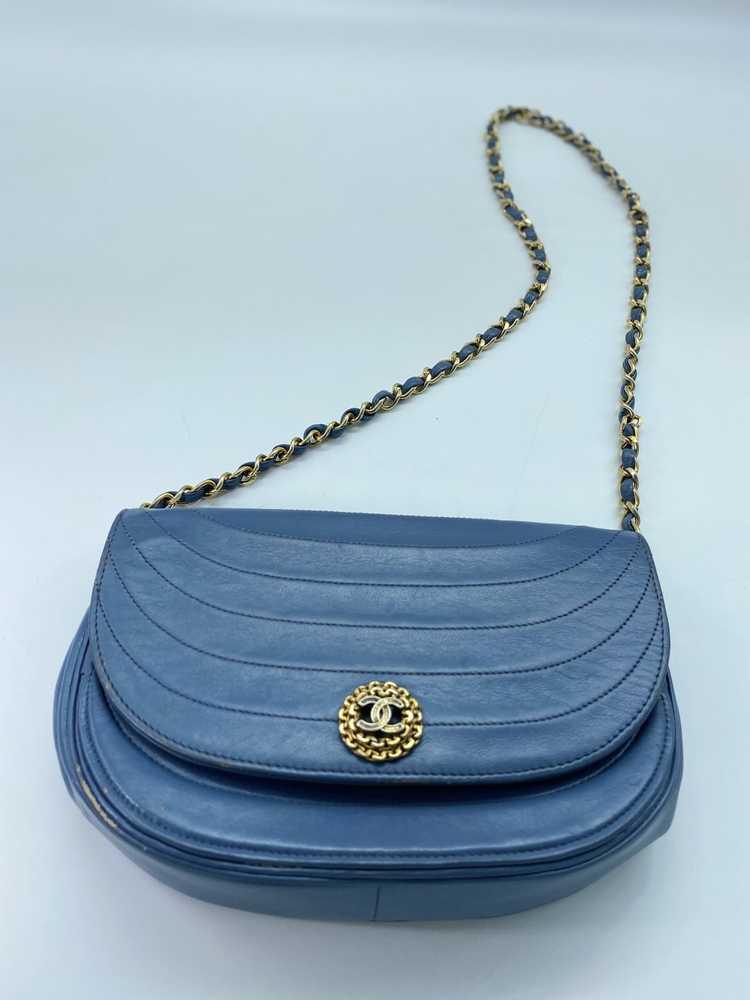 Chanel Blue Lambskin Flap Bag - image 3