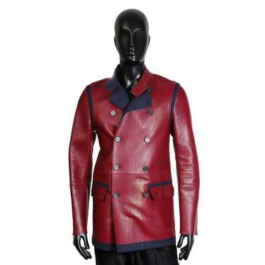 Red Leather and Navy Wool Coat