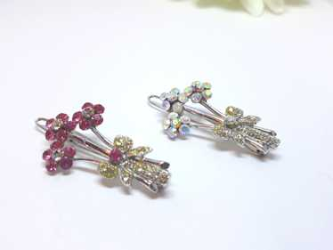 1950s Pair of Floral Bouquet Hair Pins - Rhineston