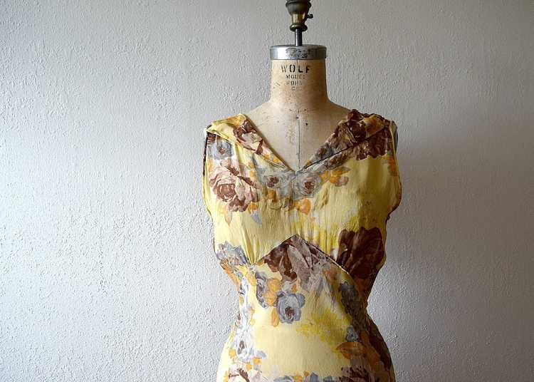 1930s floral chiffon dress . vintage 30s gown - image 2