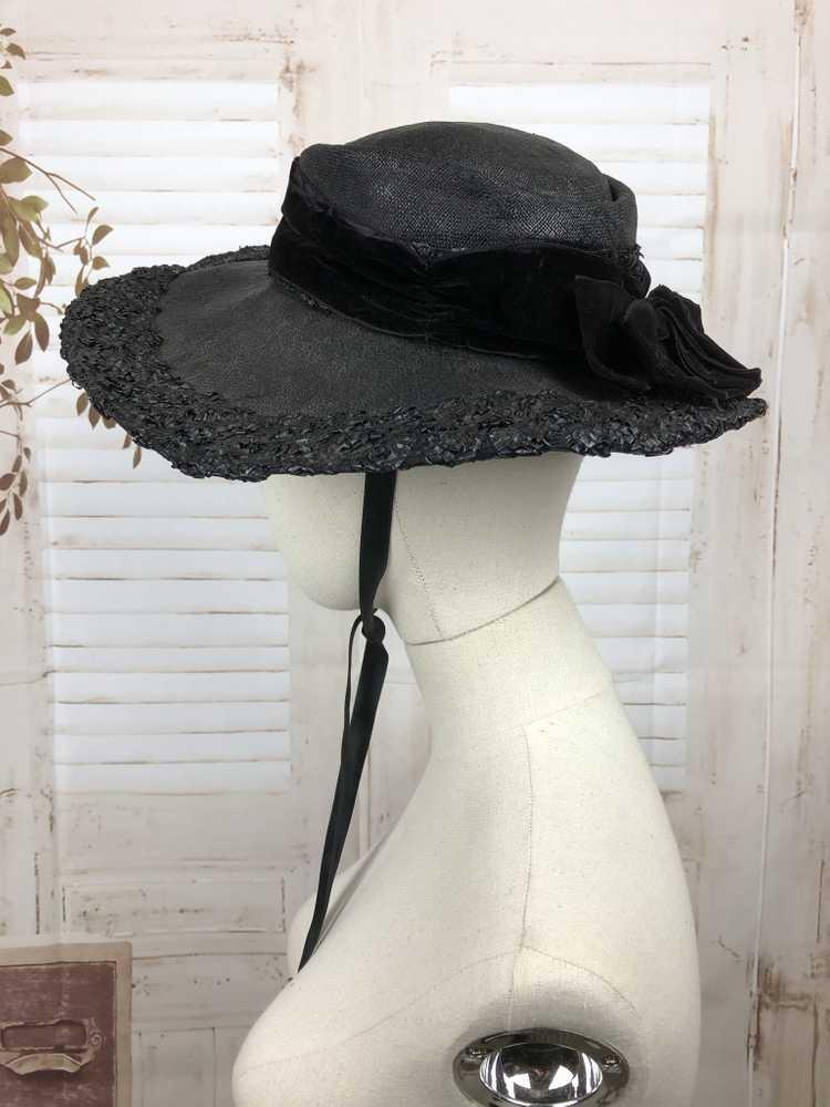 Original 1930s 30s Black Straw And Velvet Wide Br… - image 5
