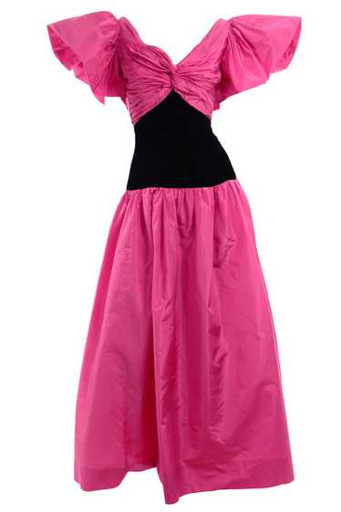 1980s Pink & Black Vintage Evening Gown w/ Butterf