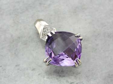 Contemporary Amethyst and Diamond Pendant, Modern