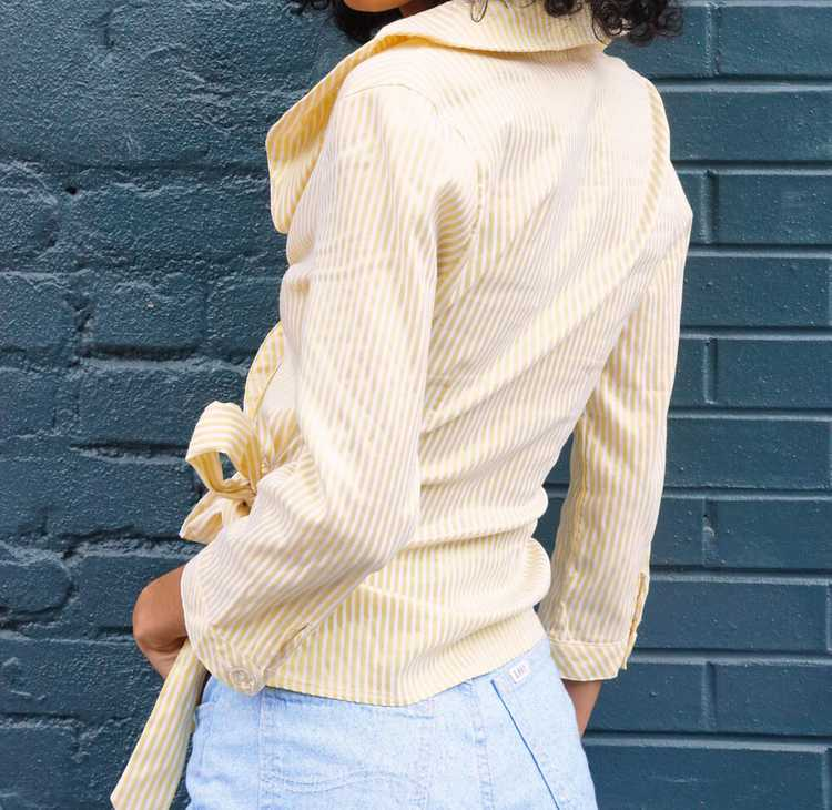 Yellow and White Ruffle Striped Blouse - image 4