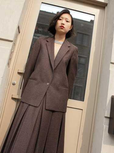 Pleated Wool Skirt Set