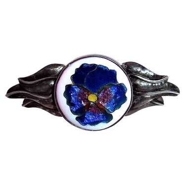 Handcrafted Sterling Cloisonne Enamel Pansy Pin - image 1