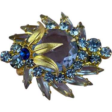 Juliana Styled Crystal Navette and Chaton Cut Stones  in Leaf Shaped Brooch