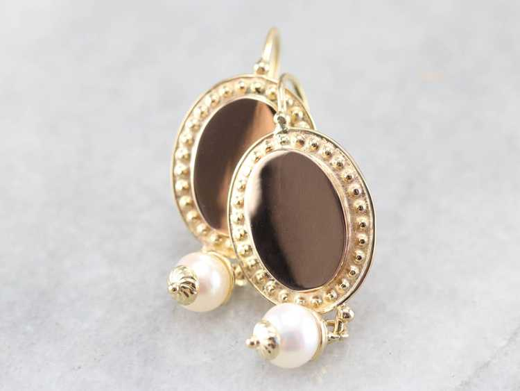 Vintage Yellow Gold and Pearl Drop Earrings - image 3