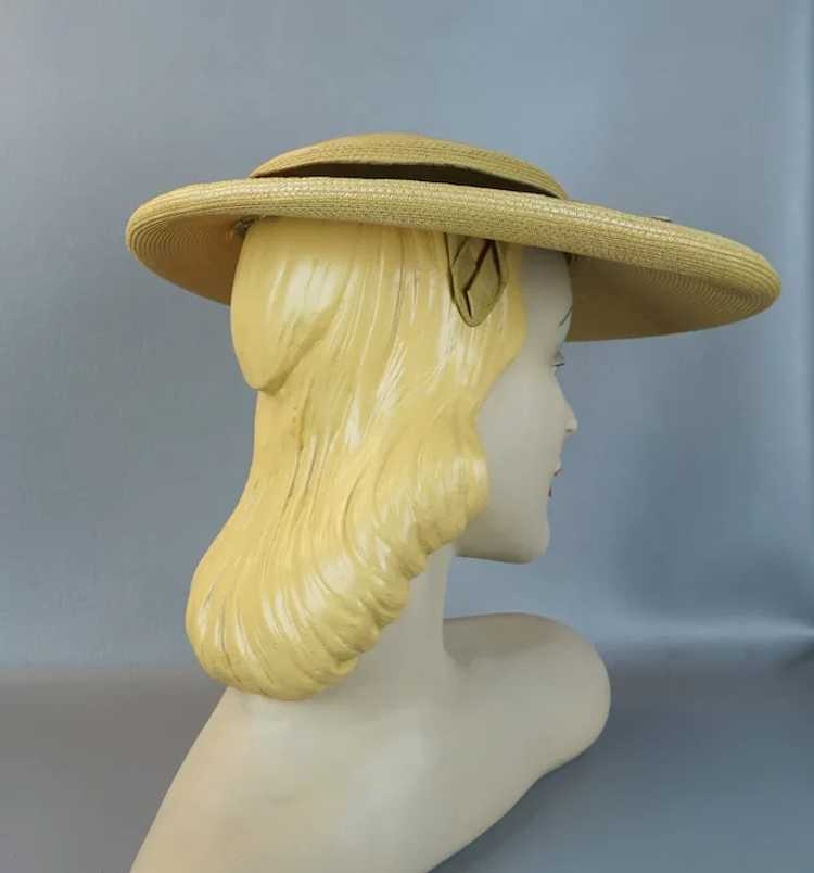 1950s Natural Straw Wide Brim Picture Hat - image 6