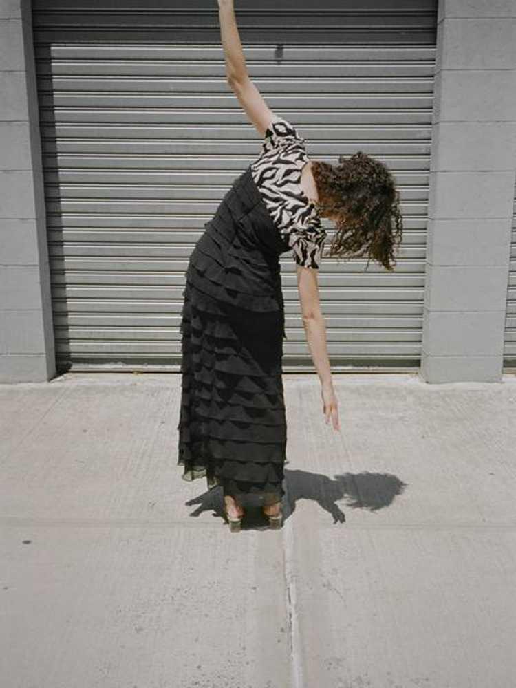 Tiered Silk Chiffon Dress - image 2