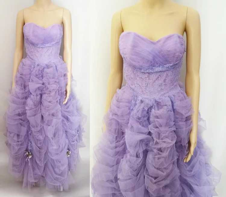 Vintage 1940s Gown // Lavender Gown// Strapless G… - image 2
