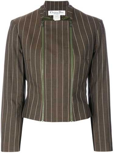 Christian Dior pre-owned pinstriped jacket - Brown