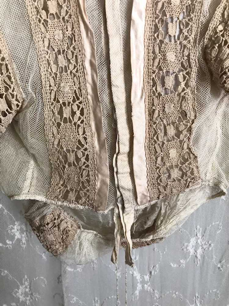 Antique 1890's Victorian Net Lace and Silk Bodice… - image 7
