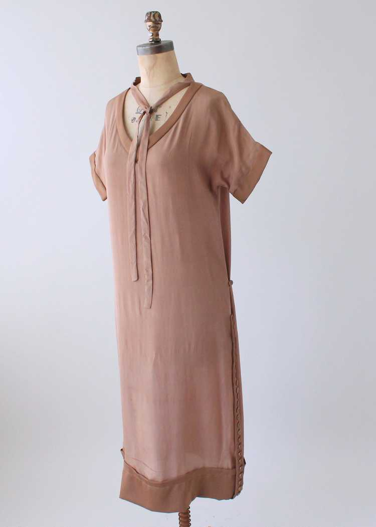 Vintage 1920s Brown Silk Day Dress with Duster Co… - image 9