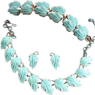 Lisner Feather Necklace Bracelet Earrings