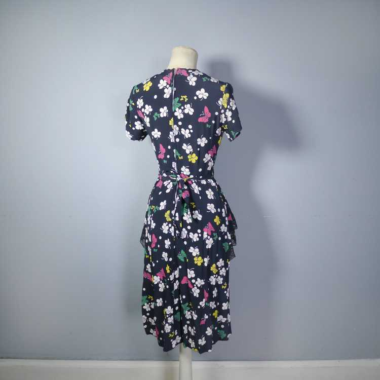 40s BUTTERFLY PRINT RAYON DRESS WITH PEPLUM AND K… - image 12