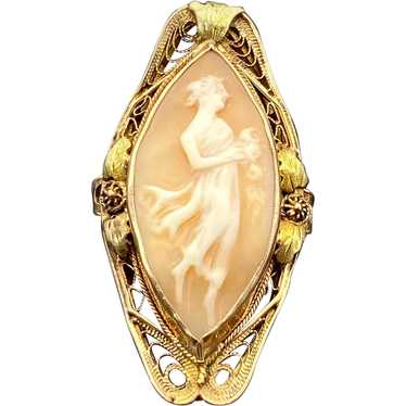 10K Gold and Shell Cameo in Ornate Setting Antique Cameo Ring Size 4