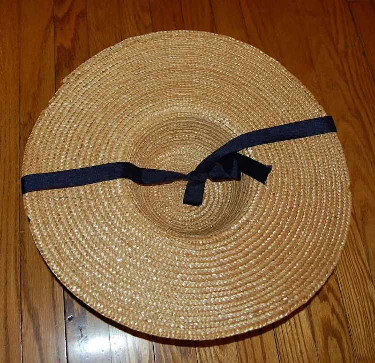 Wide Brimmed Straw Hat Women's 19th c Rural Style - image 6