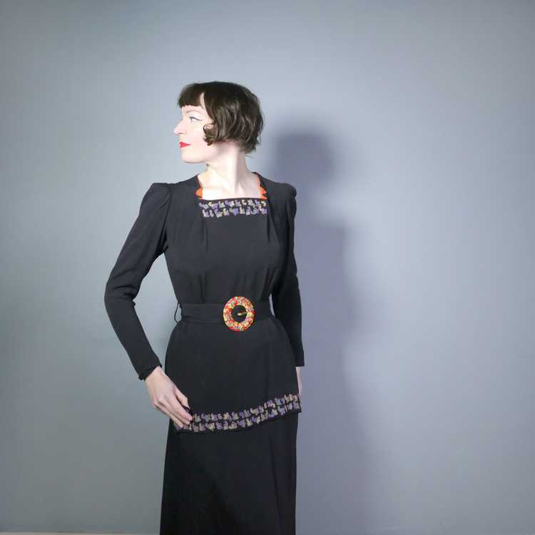 30s 40s BLACK CREPE EVENING DRESS WITH BEADED PEP… - image 3