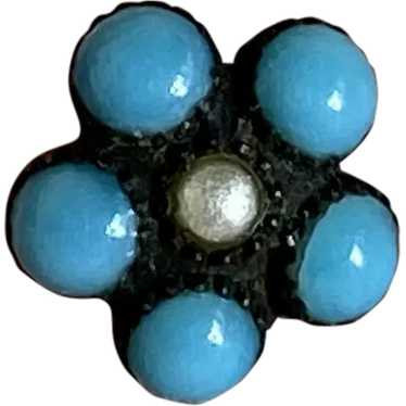 Bella Bordello Antique Button Blue Turquoise Flowe