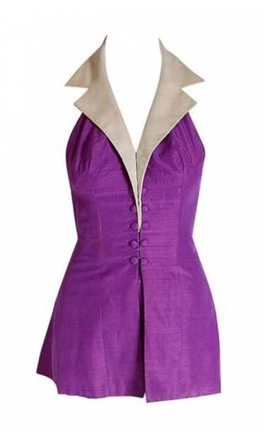 1940's Gloria DeHaven Worn Purple-Silk Halter Hour