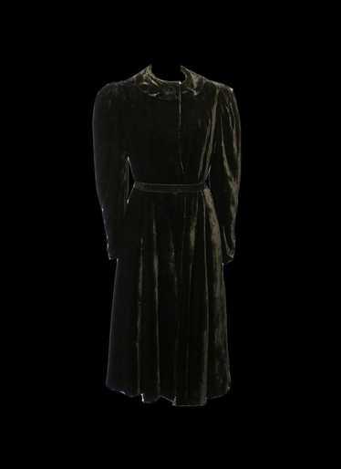 Vintage 1940s Black Silk Velvet Dress Coat