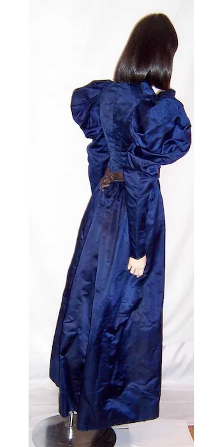 Vivid Navy Victorian (1890's The Gilded Age) Silk… - image 4