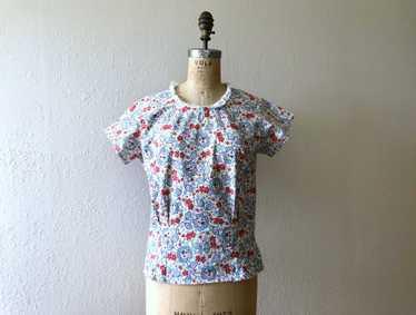 1940s top . vintage 40s print blouse