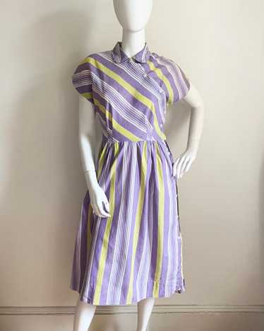 1930s Purple and Yellow Striped Dress
