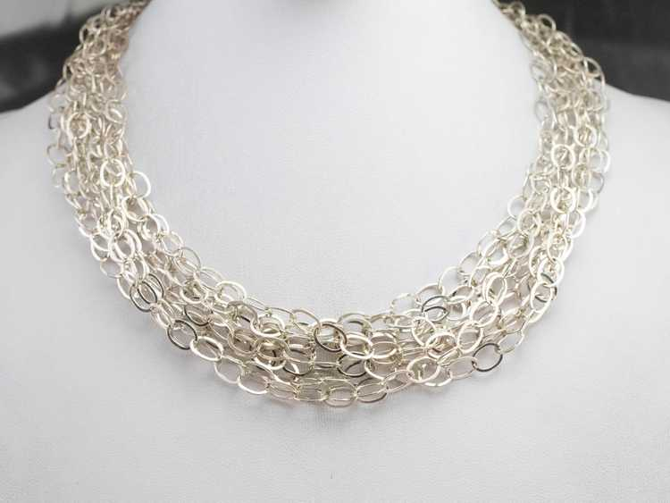 Multi Strand Sterling Silver Chain Necklace - image 1