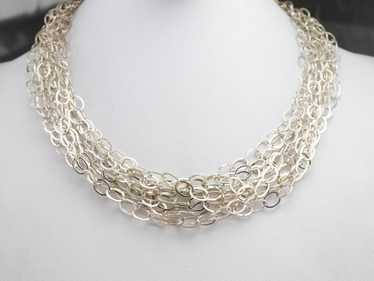 Multi Strand Sterling Silver Chain Necklace