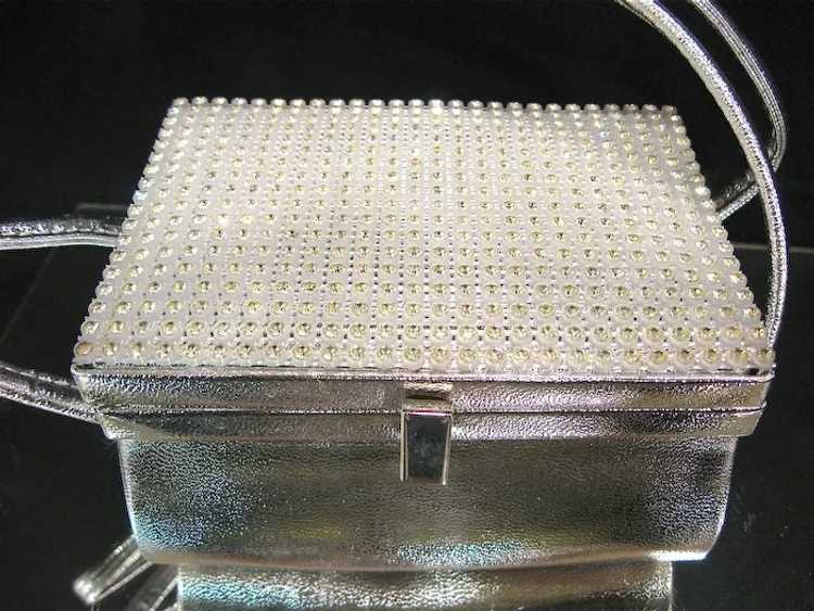 Arnold Scaasi Silver Studded Evening Bag - image 3