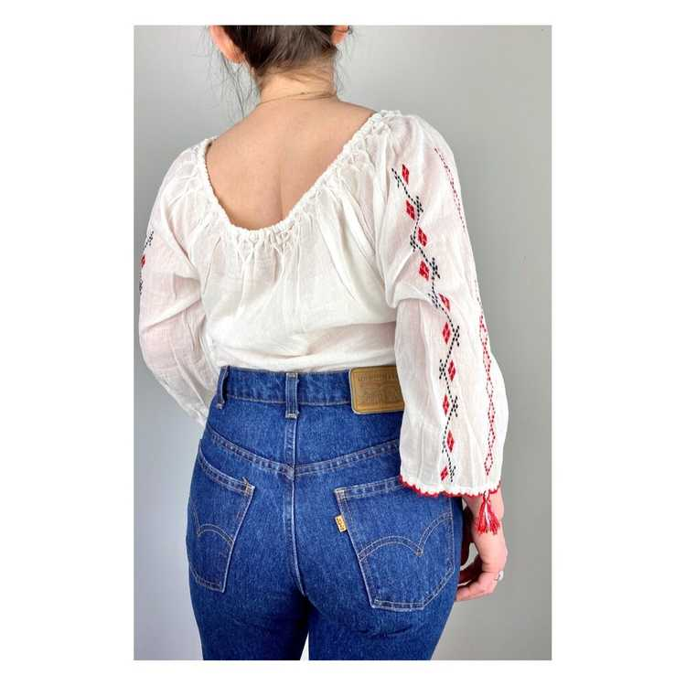 Hungarian Embroidered Vintage Blouse - image 6