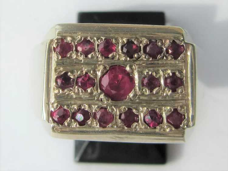Sterling Silver  Multi Ruby Unisex Ring - image 5