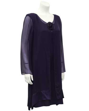 Holly Harp Purple Chiffon and Silk Dinner Dress