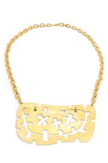 1970s Gold Tone Abstract Puzzle Plate Necklace