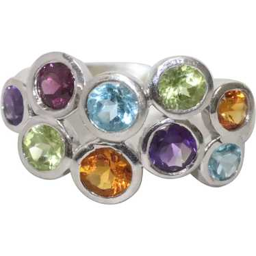 Sterling Silver Multi Colored Stone Ring