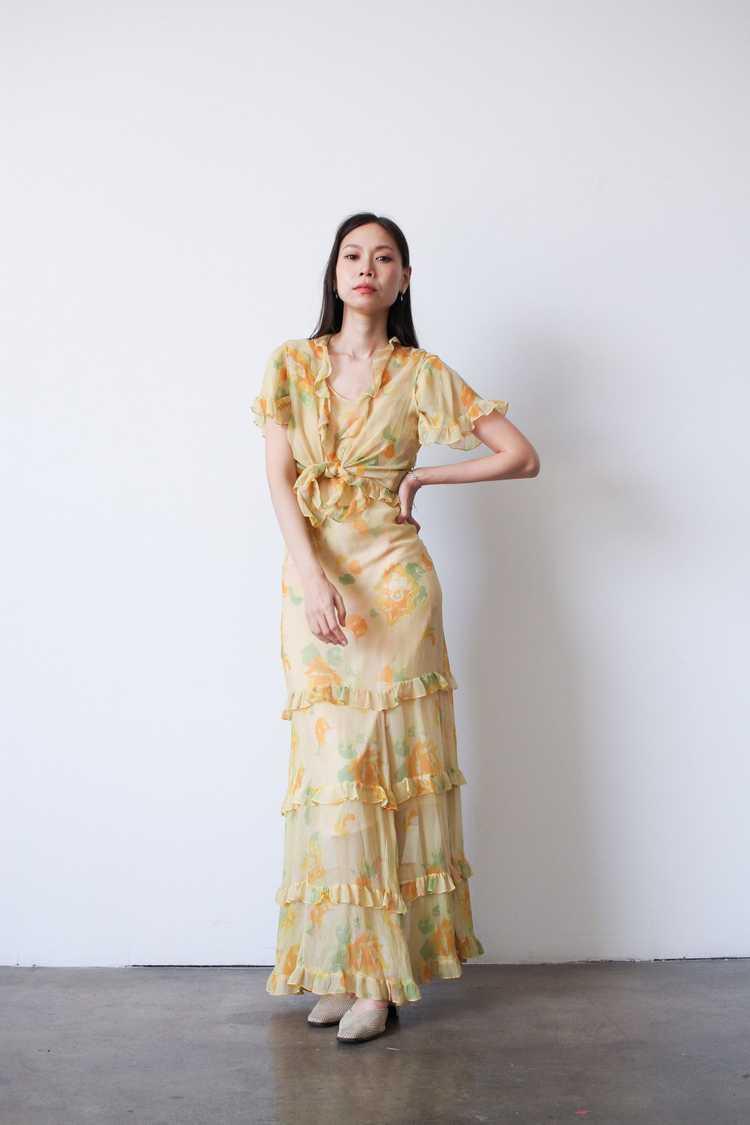 1930s Chiffon Silk Yellow Floral Dress w/ Bolero - image 2