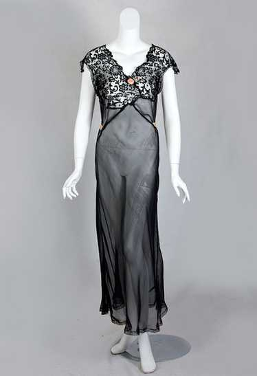 Bias-cut chiffon/lace nightgown, 1930s