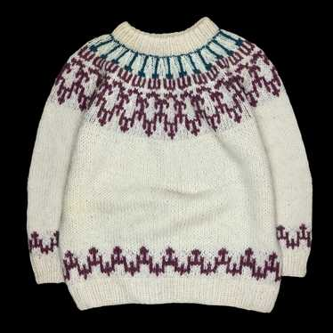 Hand Knit Wool Sweater - image 1