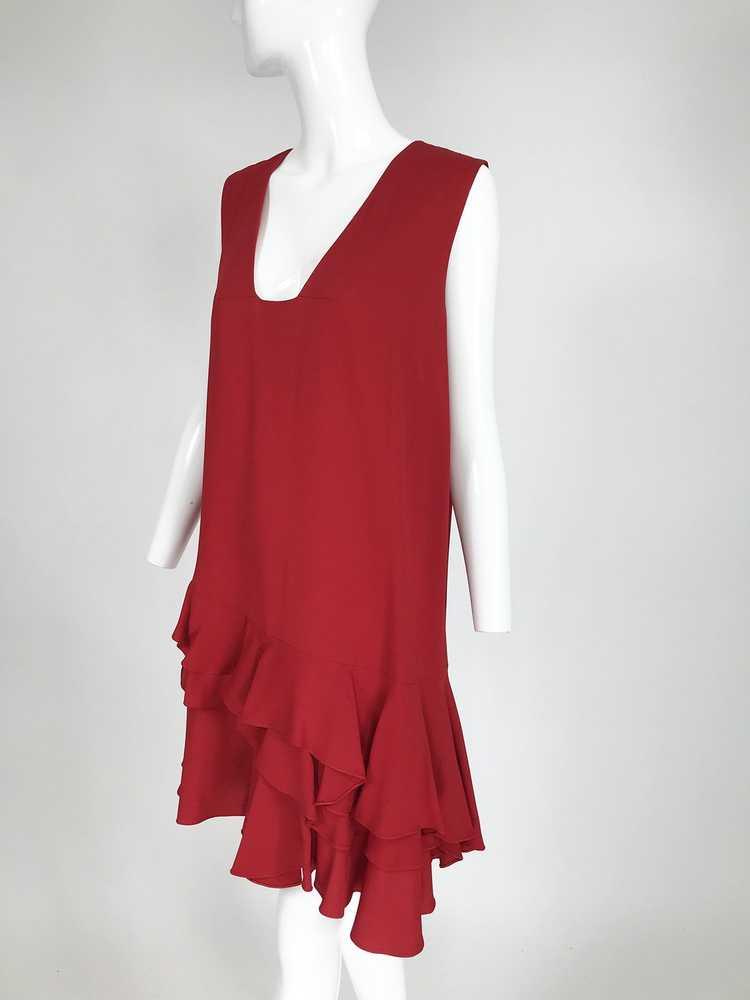 Lanvin Cherry Red Silk Blend Crepe Chemise Dress - image 2