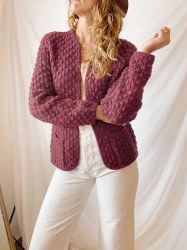 Maroon Popcorn Knit Cardigan